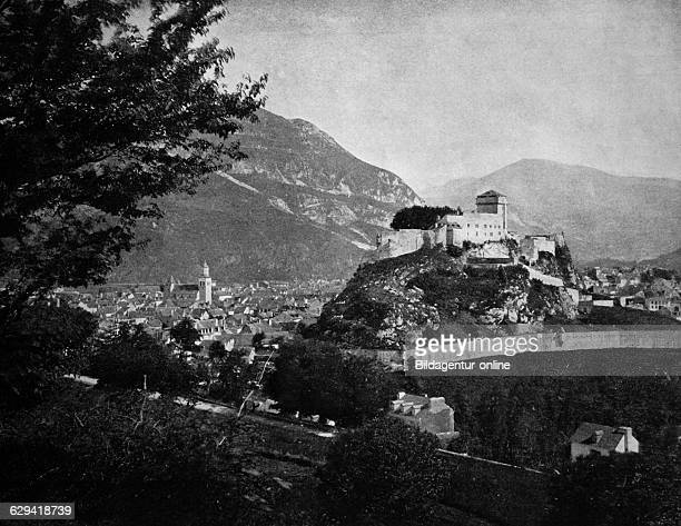 Early autotype of the chateau in lourdes hautespyrenees france historical photo 1884