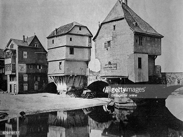 Early autotype of the houses on the old nahe bridge in bad kreuznach rhinelandpalatinate germany historical photograph 1884