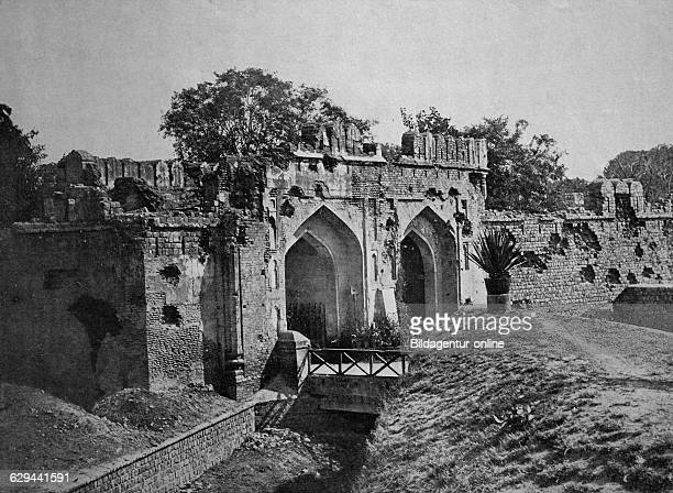 Early autotype of the kashmiri gate delhi india historical picture 1884