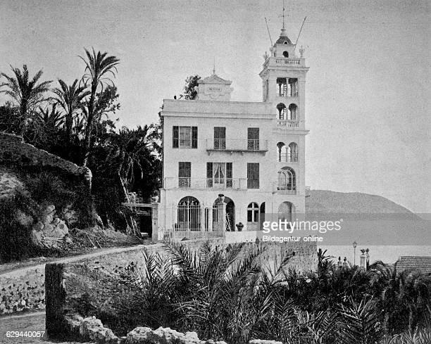 Early autotype of the villa garnier bordighera italy 1880