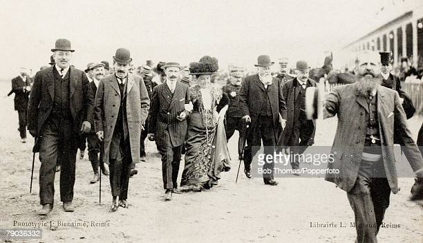 Early Aviation Grande Semaine DAviation de Champangne 22nd 29th August 1909 The arrival of the President of the Republic of France Aristide Briand...
