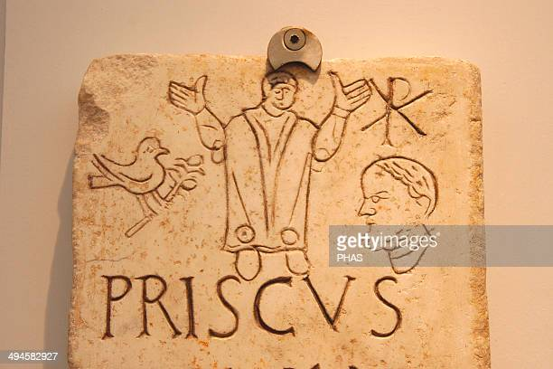 Early Christian Art Italy Early Christians Roman tombstone with Christian iconography Funerary stele of Prisco The symbol of the dove and the olive...