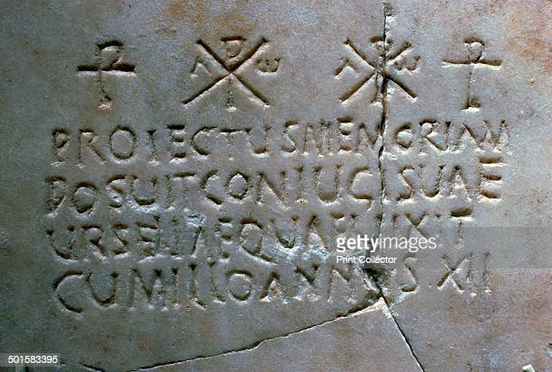 Early Christian funerary inscription with chirho crosses from Merida Museum's collection in Spain