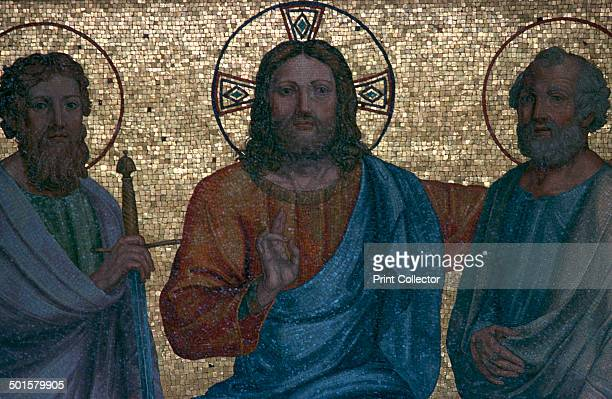 Early Christian mosaic of Christ with the Saints Paul and Peter at the Vatican Museums 1st century