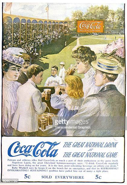 Early CocaCola ad using the baseball personality Napoleon Nap Lajoie for product endorsement The ad shows Lajoie on the baseball grounds as members...