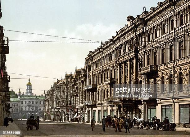 Early colour photography Street scene of Nicolviewskaia Kiev Russia 1890 As of 1919 Ukraine became independent and Kiev is now the capital the country