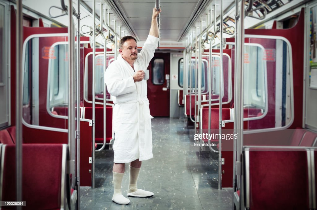 Early commuter on the train : Stock Photo