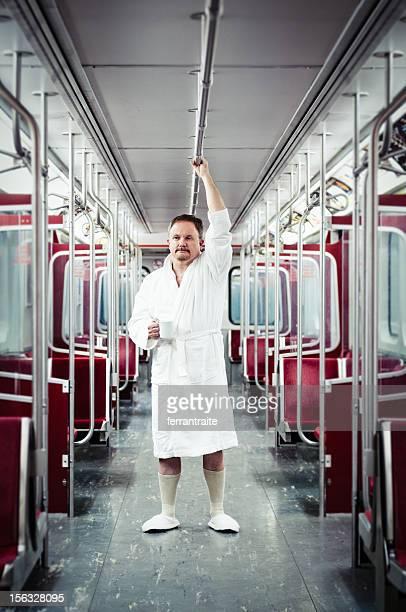 Früher Pendler auf den Zug