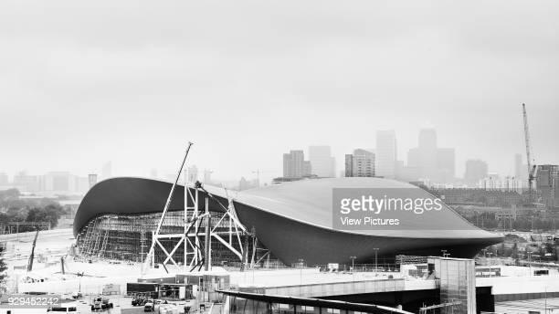 Early construction phase of the Aquatics Center with shape and form of the roof London 2012 Aquatics Centre Stratford United Kingdom Architect Zaha...