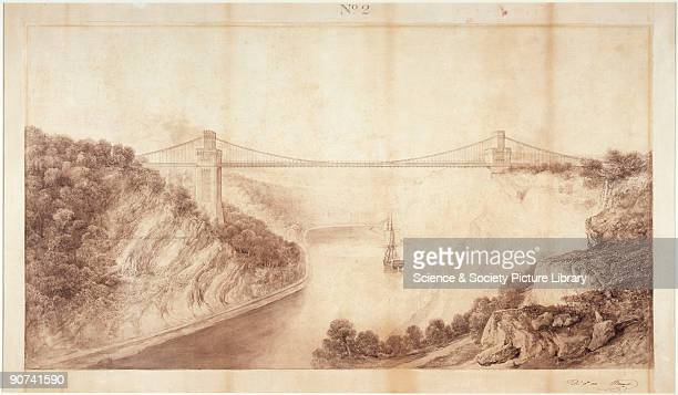 Early design for the abutments of Clifton Suspension Bridge signed by Isambard Kingdom Brunel Construction of the bridge actually began in 1836 but...