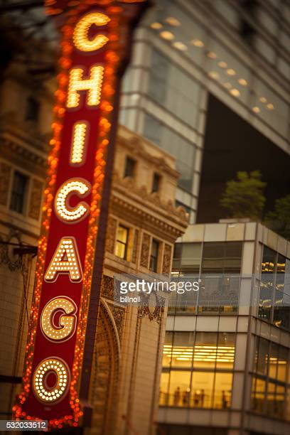 Early evening photo of the Chicago Theatre lighted sign