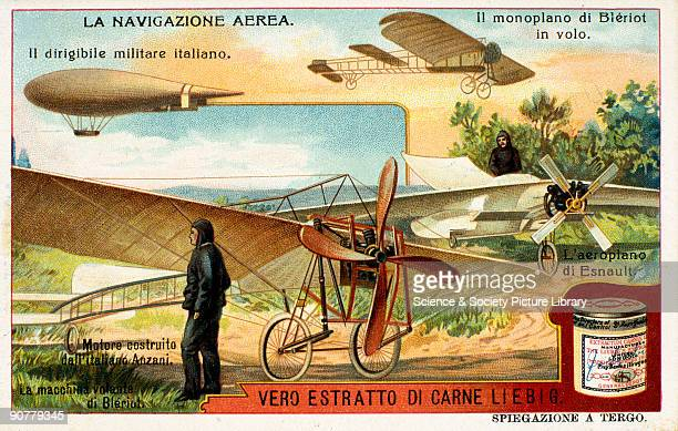 Early flying machines Liebig trade card c1910 'La Navigazione Aerea' One of a set of trade cards showing an Italian military dirigible airship early...
