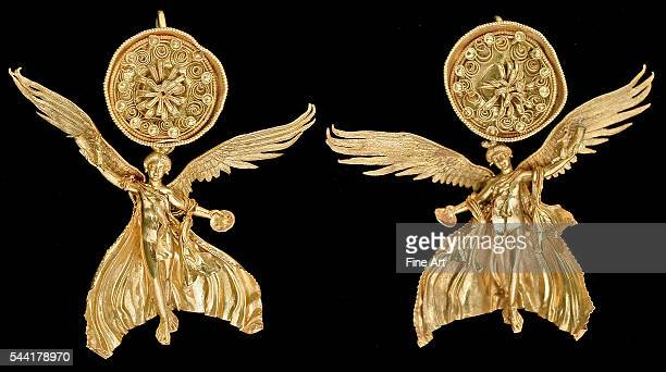 Early Hellenistic gold Nike earrings from ancient Odessos Late 4th century BC Located in Varna Archaeological Museum Varna Bulgaria