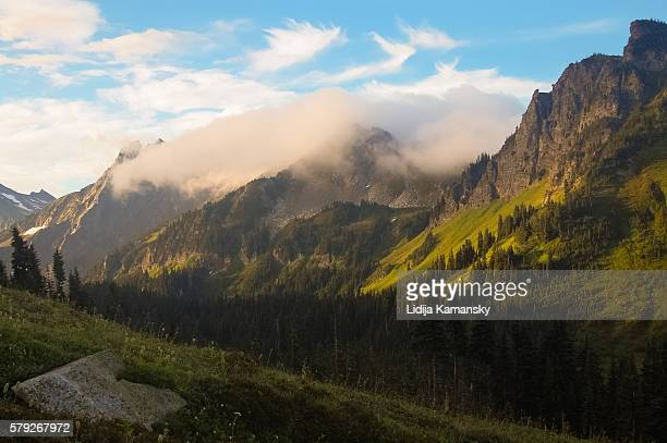 early morning at buck creek pass - leavenworth washington stock photos and pictures
