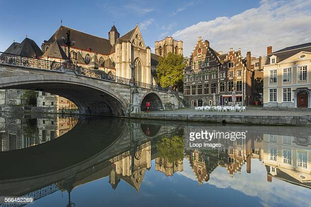 Early morning at St Michael's Bridge in Ghent