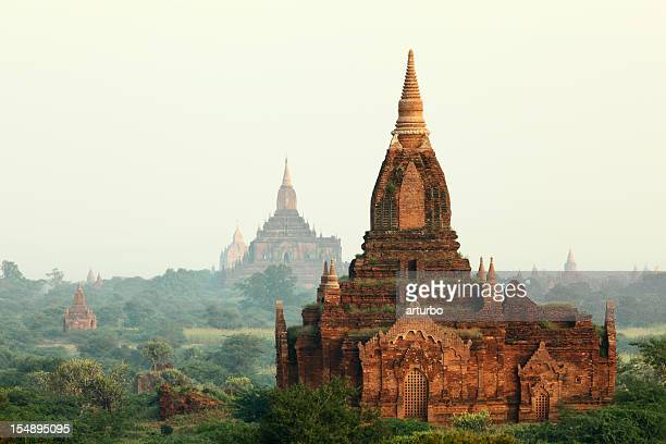 early morning Bagan temple field