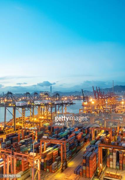 early morning bird's eye view of container terminal - tariff stock pictures, royalty-free photos & images