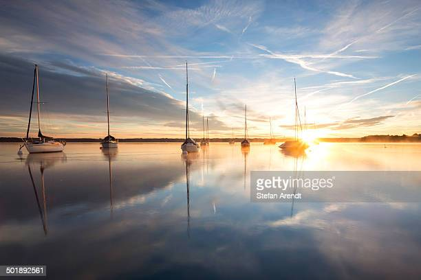 Early morning, boats on Lake Starnberg near Tutzing, Bavaria, Germany, Europe, PublicGround