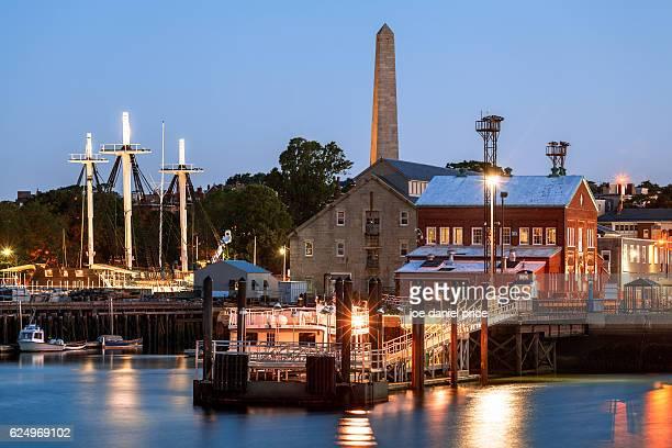 Early Morning, Bunker Hill Memorial, Charlestown Navy Yard, USS Constitution, Boston, Massachusetts, America