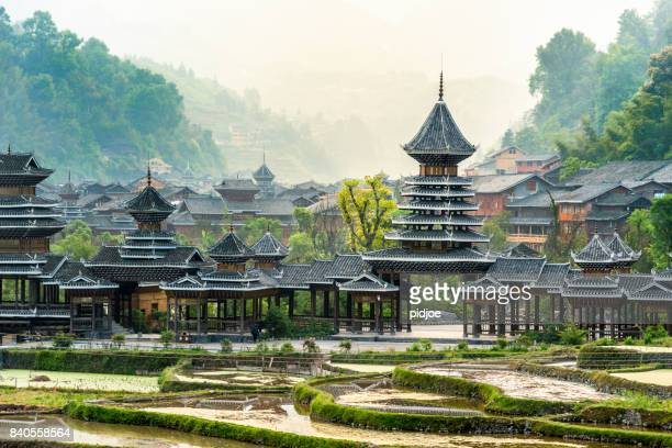 early morning, entrance village zhao xing.this image is gps tagged - beijing stock pictures, royalty-free photos & images