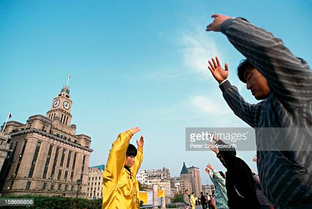 Early morning excercises along the Bund..