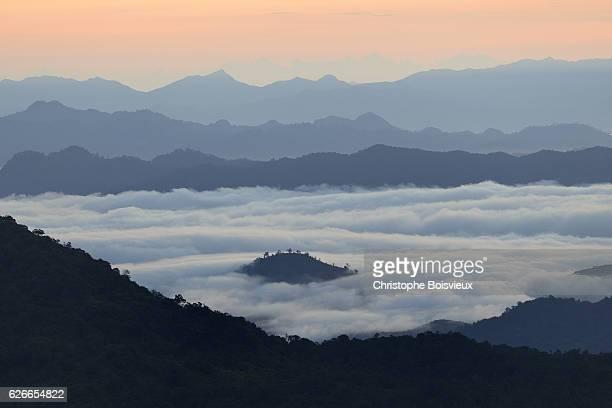 Early morning from the top of the Golden Rock. Kyaiktiyo, Myanmar,