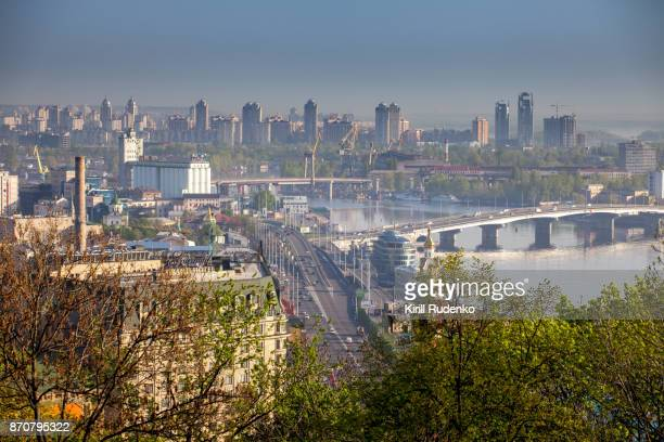 early morning haze over kiev downtown, ukraine - キエフ市 ストックフォトと画像
