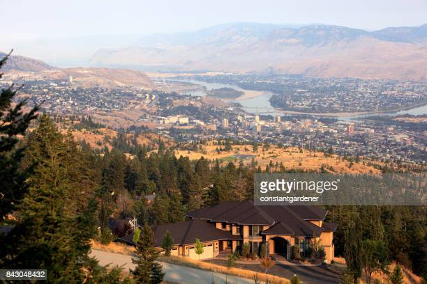 early morning high above downtown kamloops - kamloops stock pictures, royalty-free photos & images