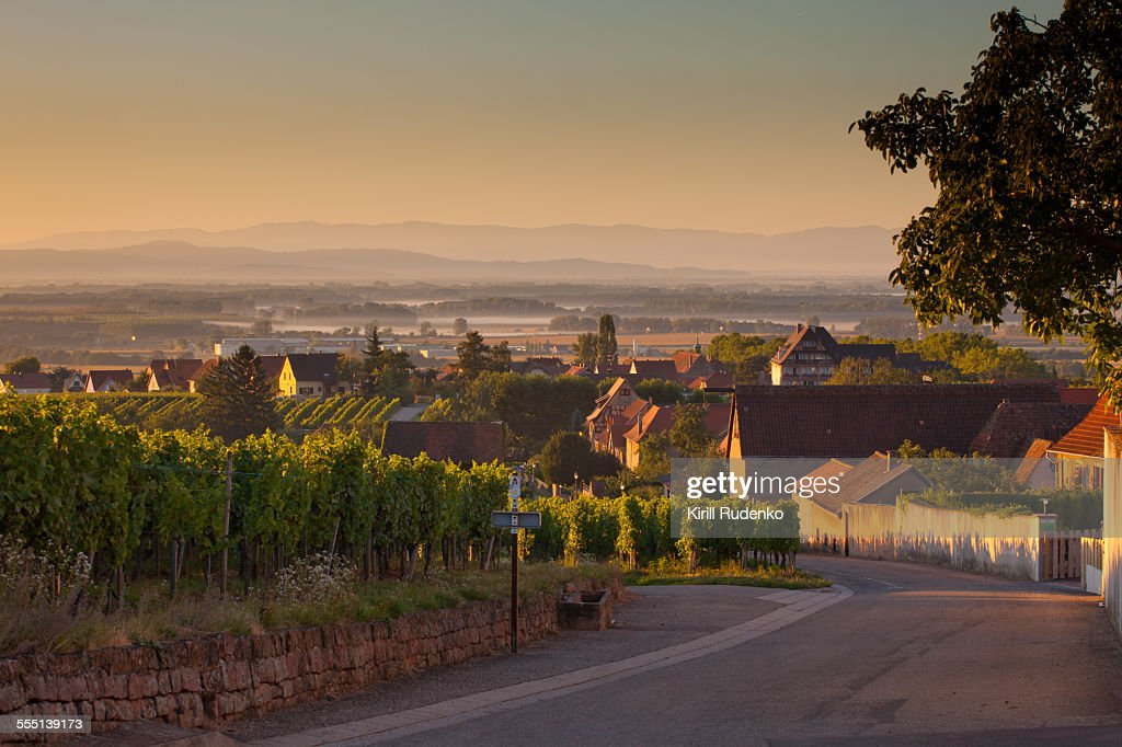 Early morning in a small village in Alsace, France : ストックフォト