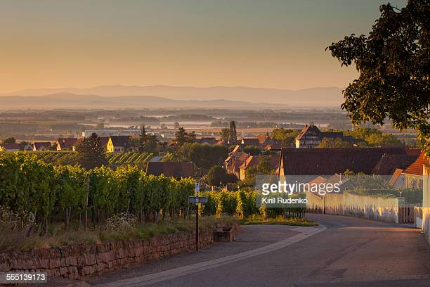 early morning in a small village in alsace, france - villaggio foto e immagini stock