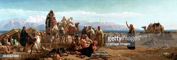 'Early morning in the wilderness of Shur' 1860 Scene set at the 'Well of Moses' on the western shore of the Red Sea A family group are sitting...