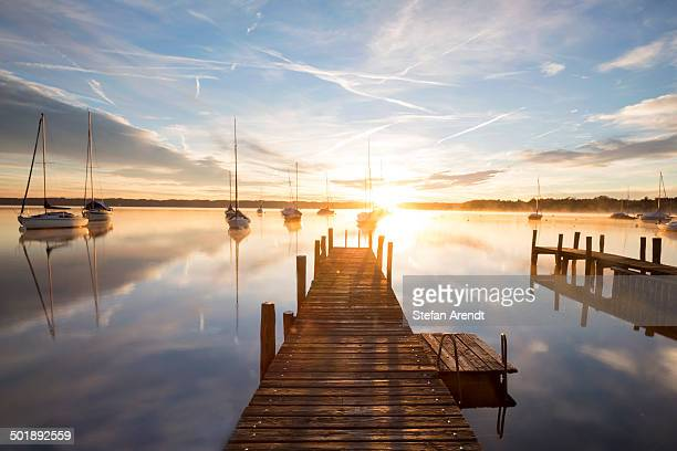 Early morning, jetty at Lake Starnberg near Tutzing, Bavaria, Germany, Europe, PublicGround