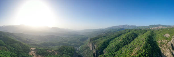 Early morning, just after sunrise. Tazi Canyon (Bilgelik Vadisi) in Manavgat, Antalya, Turkey. Amazing landscape and cliff. Greyhound Canyon, Wisdom Valley. High resolution panorama