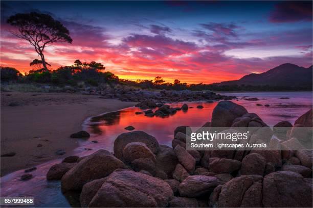 Early morning light in Coles Bay, Freycinet National Park, east coastline of Tasmania.