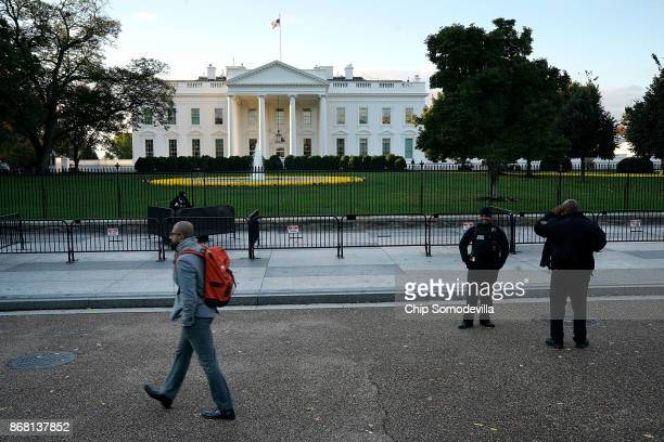 Early morning light lands on the North Portico of the White House October 30 2017 in Washington DC Former Trump campaign manager Paul Manafort and...
