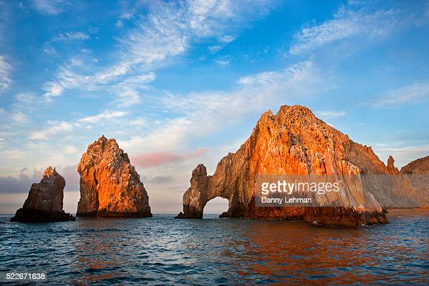 early morning light on el arco at cabo san lucas - sea of cortez stock pictures, royalty-free photos & images