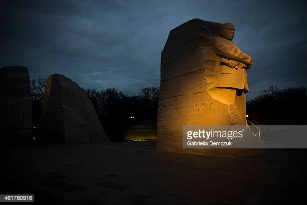 Early morning light shines on the Martin Luther King Jr Memorial on the National Mall on January 19 2015 in Washington DC Visitors gather at the...