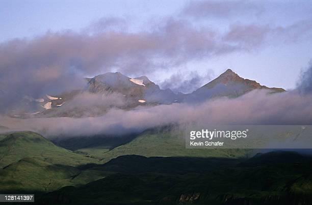 early morning mist in august, dutch harbor, unalaska island, bering sea, alaska, usa - unalaska stock photos and pictures