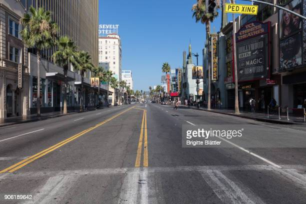 early morning on hollywood blvd - hollywood california stock pictures, royalty-free photos & images