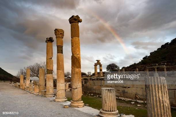 early morning over Ruins Ephesus Roman Ancient city near Kusadasi Turkey