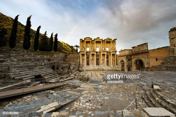 early morning over ruins ephesus roman ancient city near kusadasi turkey - izmir stock pictures, royalty-free photos & images