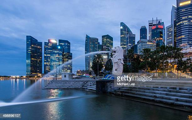 CONTENT] Early morning panoramic view of Marina Bay with the Merlion and the Commercial Business District skyline