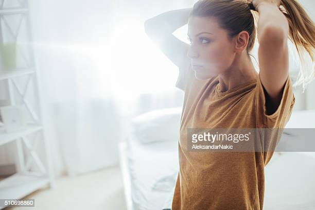 early morning - ponytail stock pictures, royalty-free photos & images
