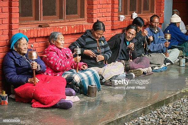 Early morning prayers at a home for the elderly in Tashi Palkhiel Tibetan Refugee Settlement in Pokhara, Nepal.