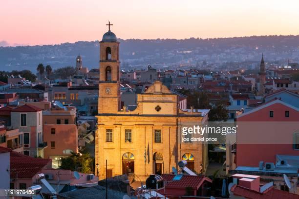 early morning, presentation of the virgin mary holy metropolitan orthodox church, chania, crete, greece - creta fotografías e imágenes de stock