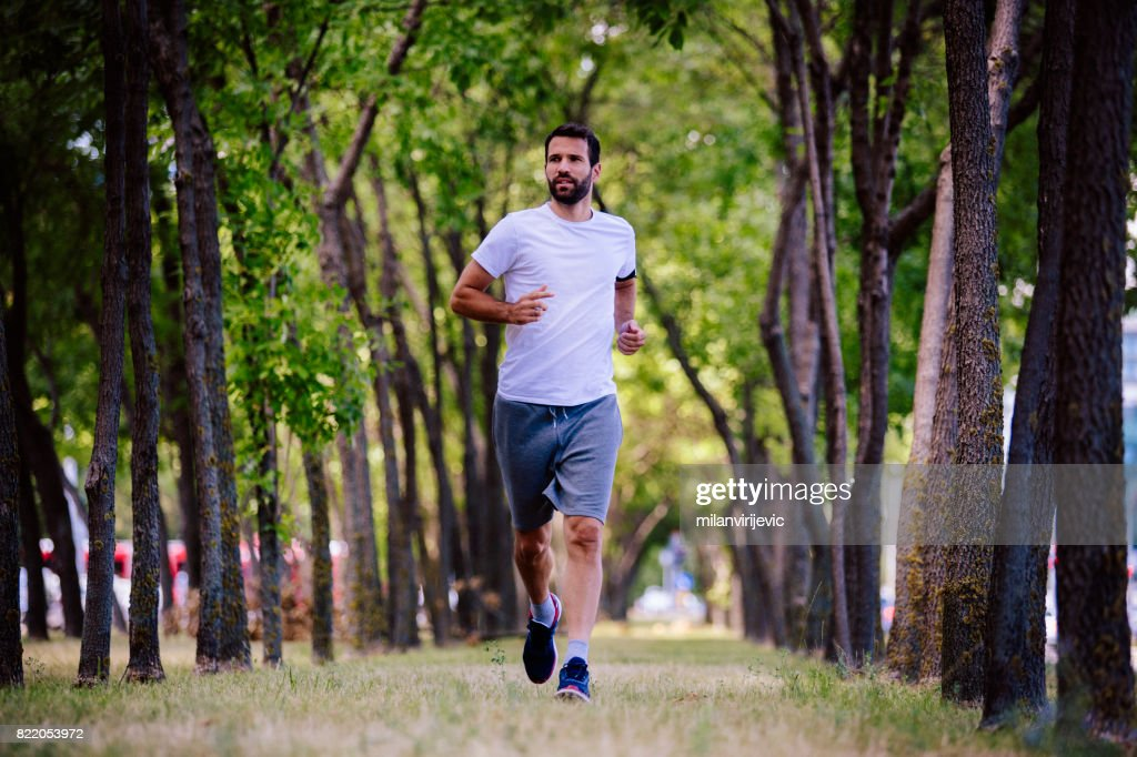 Early morning run in nature : Stock Photo
