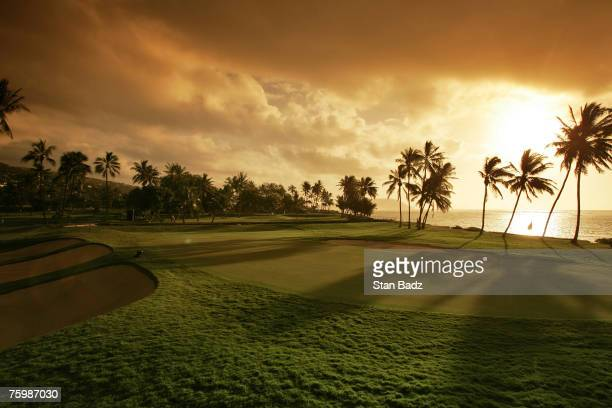 Early morning scenic of the 17th hole along the beach during the third round of the Sony Open January 14 held at Waialae Country Club Honolulu Hawaii