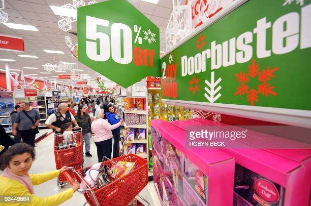 Early morning shoppers look for Black Friday bargains at Target store in Burbank California on November 27 2009 The National Retail Federation said...