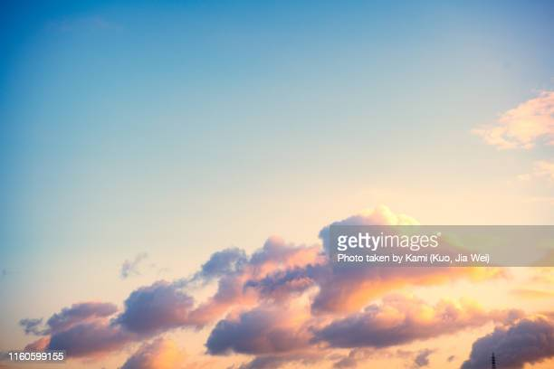 early morning sky at okinawa with electric tower - soleggiato foto e immagini stock