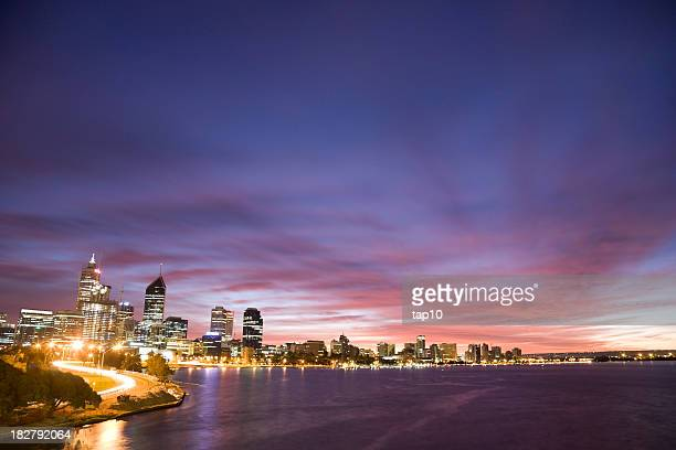 Early morning skyline view of Perth, Australia